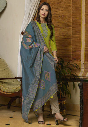 Embroidered Muslin Cotton Pakistani Suit in Light Green