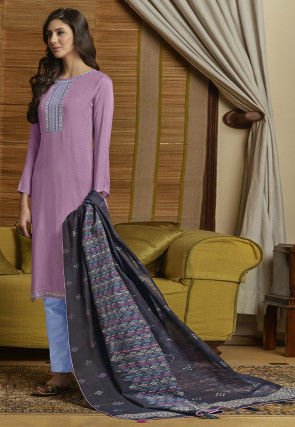 Embroidered Muslin Cotton Pakistani Suit in Lilac