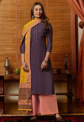 Embroidered Muslin Cotton Pakistani Suit in Violet