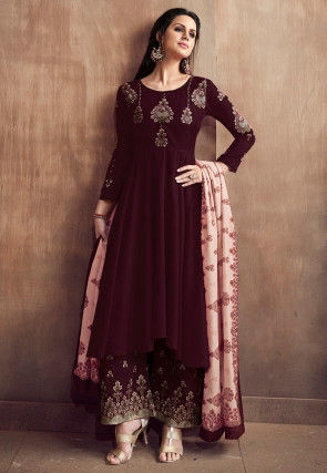 Embroidered Muslin Cotton Pakistani Suit Maroon
