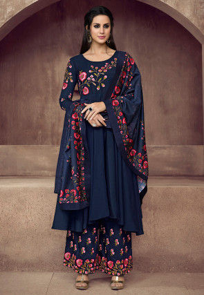 Embroidered Muslin Cotton Pakistani Suit Navy Blue