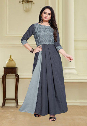 Embroidered Muslin Cotton Pleated Gown in Grey