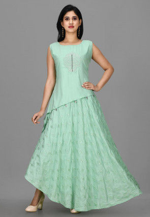 Embroidered Muslin Cotton Top with Skirt in Sea Green