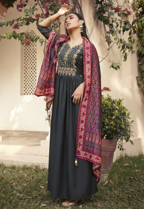 Embroidered Muslin Silk Abaya Style Suit in Grey