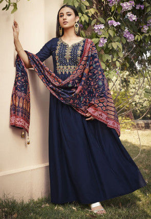 Embroidered Muslin Silk Abaya Style Suit in Dark Blue