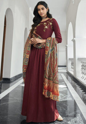 Embroidered Muslin Silk Abaya Style Suit in Maroon