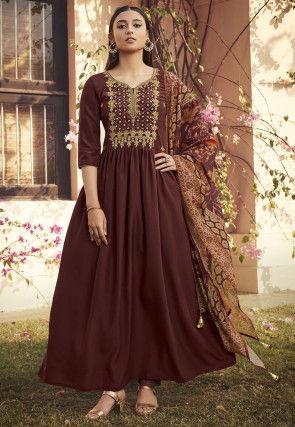 Embroidered Muslin Silk Abaya Style Suit in Brown