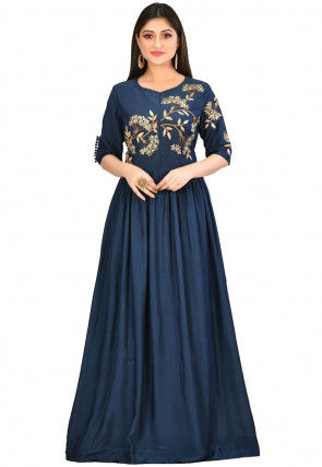 Embroidered Muslin Silk Gown in Dark Blue