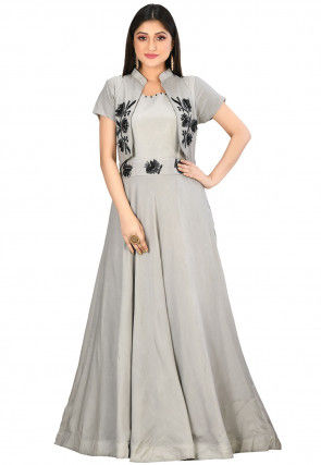 Embroidered Muslin Silk Gown in Light Grey