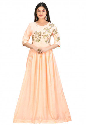 Embroidered Muslin Silk Gown in Light Peach