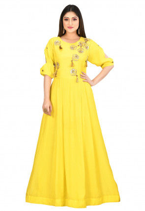 Embroidered Muslin Silk Gown in Yellow
