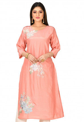 Embroidered Muslin Silk Kurta in Peach