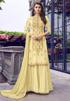 Embroidered Muslin Silk Layered Abaya Style Suit in Light Yellow