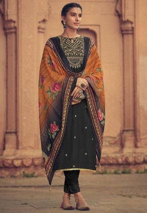 Embroidered Muslin Silk Pakistani Suit in Black