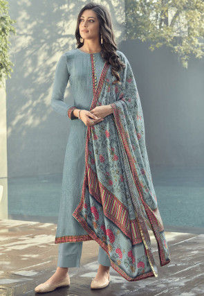 Embroidered Muslin Silk Pakistani Suit in Dusty Blue