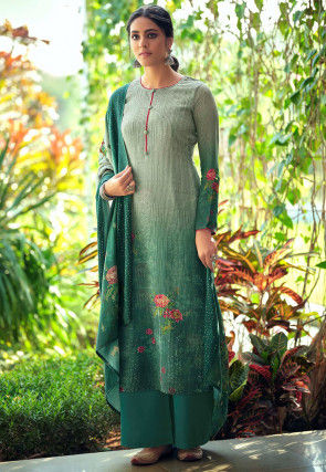 Embroidered Muslin Silk Pakistani Suit in Green and Grey