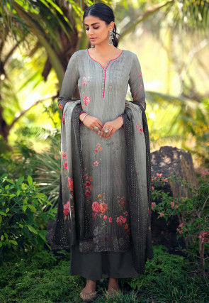 Embroidered Muslin Silk Pakistani Suit in Grey and Black
