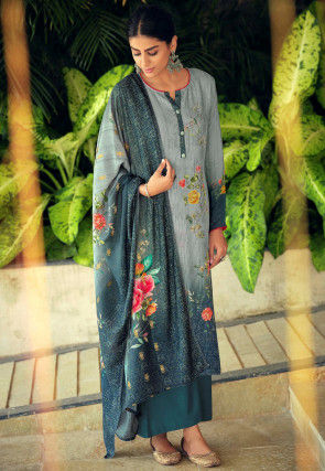 Embroidered Muslin Silk Pakistani Suit in Grey and Teal Blue
