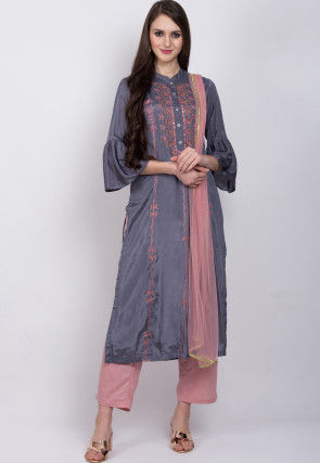 Embroidered Muslin Silk Pakistani Suit in Grey