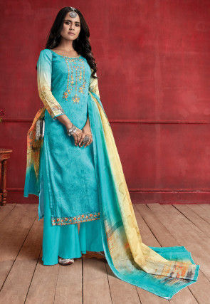 Embroidered Muslin Silk Pakistani Suit in Light Blue