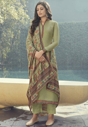 Embroidered Muslin Silk Pakistani Suit in Light Green