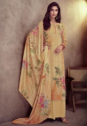 Embroidered Muslin Silk Pakistani Suit in Light Mustard