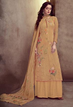 Embroidered Muslin Silk Pakistani Suit in Light Orange
