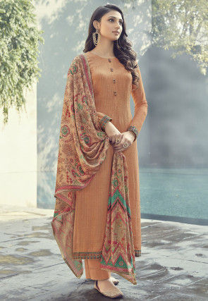 Embroidered Muslin Silk Pakistani Suit in Light Orange