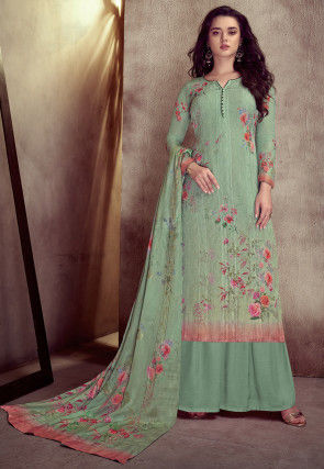 Embroidered Muslin Silk Pakistani Suit in Light Teal Green