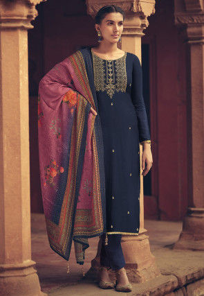 Embroidered Muslin Silk Pakistani Suit in Navy Blue