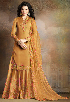 Embroidered Muslin Silk Pakistani Suit in Old Gold