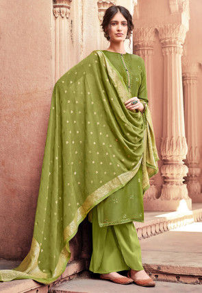 Embroidered Muslin Silk Pakistani Suit in Olive Green