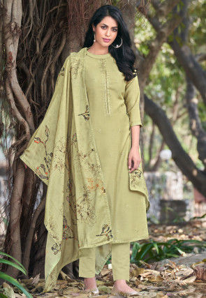 Embroidered Muslin Silk Pakistani Suit in Pastel Green