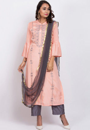 Embroidered Muslin Silk Pakistani Suit in Peach