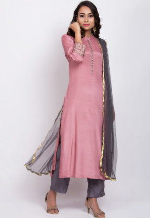 Embroidered Muslin Silk Pakistani Suit in Pink