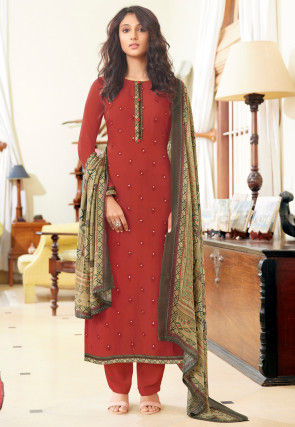 Embroidered Muslin Silk Pakistani Suit in Red