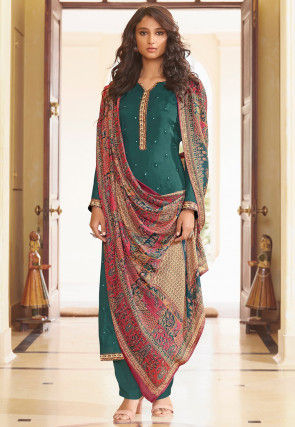 Embroidered Muslin Silk Pakistani Suit in Teal Blue