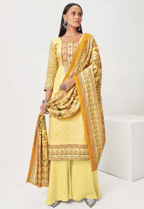 Embroidered Muslin Silk Pakistani Suit in Yellow