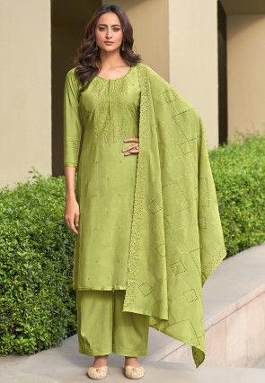Embroidered Muslin Silk Pakistani Suit Light Green