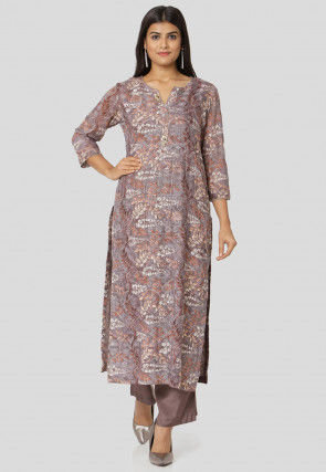 Embroidered Muslin Silk Straight Kurta Set in Lilac