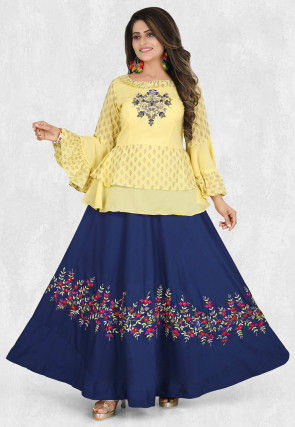 Embroidered Muslin Silk Top with Skirt in Yellow and Blue