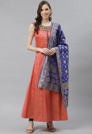 Embroidered Neck Art Silk Jacquard Abaya Style Suit in Peach