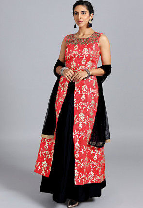 Embroidered Neck Art Silk Lehenga in Coral Red