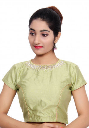 Embroidered Neck Cotton Silk Padded Blouse in Pastel Green