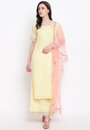Embroidered Neckine Chanderi Silk Pakistani Suit in Yellow