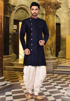 Embroidered Neckline Art Silk Dhoti Kurta in Navy Blue