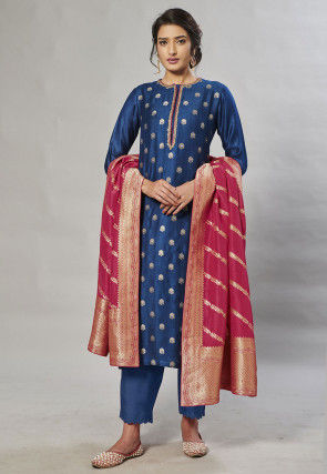 Embroidered Neckline Art Silk Jacquard Pakistani Suit in Blue