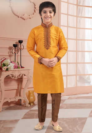 Embroidered Neckline Art Silk Kurta Set in Mustard