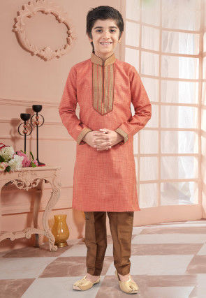 Embroidered Neckline Art Silk Kurta Set in Peach
