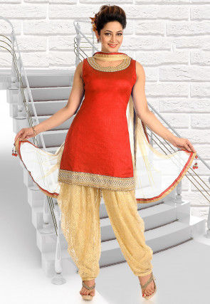 Embroidered Neckline Art Silk Punjabi Suit in Red